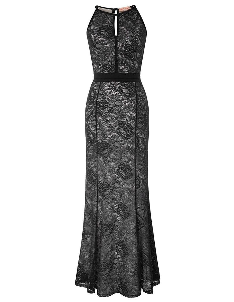 c2c4b4d24eb00 Belle Poque Sexy Halter Floral Lace Evening Fishtail Maxi Dress ...