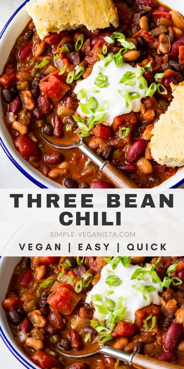 This quick and easy Three Bean Chili recipe is perfect when you want a cozy warm vegan chili in 30 minutes or less! Healthy, hearty and perfect for lunch, dinner or meal prep ideas. #veganrecipes #veganchili #healthyrecipes #veggiechilirecipe