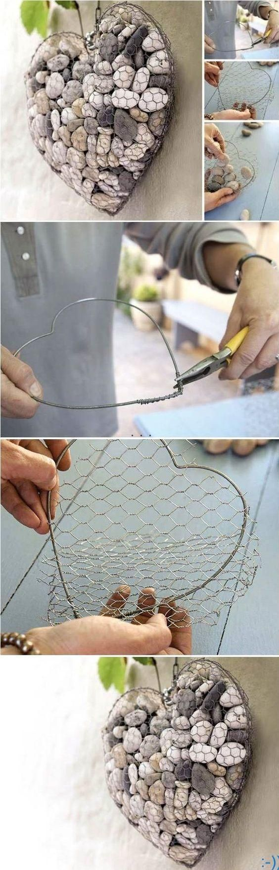 You can make a stone heart to uniquely decorate your balcony or your patio. You need some regular wire, some chicken wire and stones. First, by curling the regular wire, make a heart shape. Then, cover both sides with the chicken wire and fill it with stones. source : pinterest