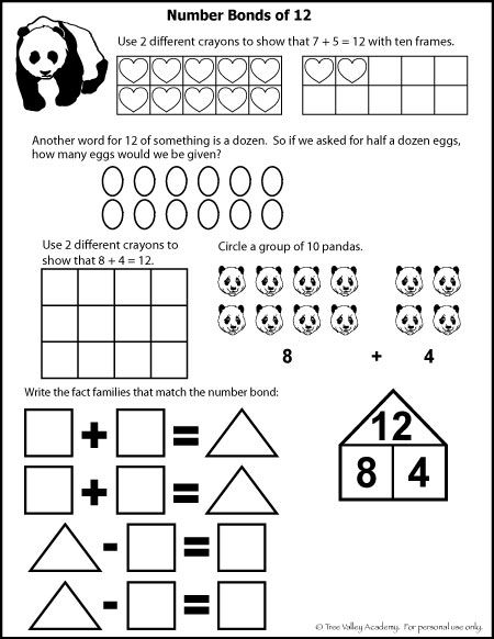 Number Bonds To 12 Free Math Worksheets Free Math Worksheets Number Bonds Math Worksheets