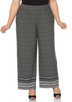 3d55bf6ee2a Rafaella Women s Plus Size Tribal Printed Pant - Black - 2X