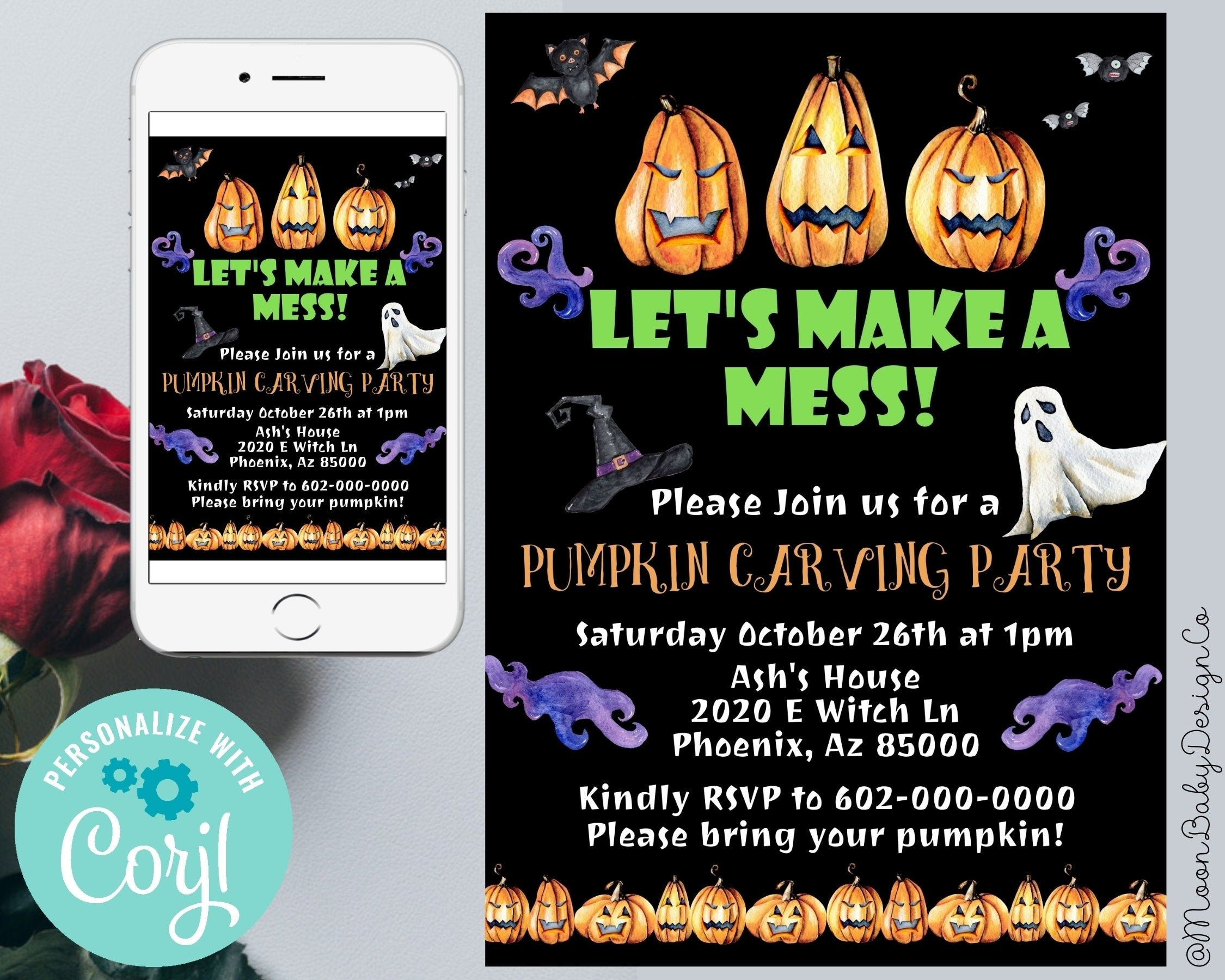 Pumpkin Carving Party Invitation, Halloween Pumpkin Carving Invitation, Pumpkin Carving, Lets Make A Mess, Halloween ideas, Digital Download #pumkincarvingdesigns