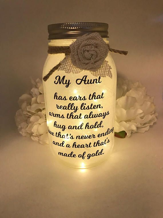 Mason Jar Light, Mason Jar Night light, Gift for Mom, Gift for Aunt, Gift for Grandma, Gifts, Birthday Gift, Personalized, Mother's Day Gift
