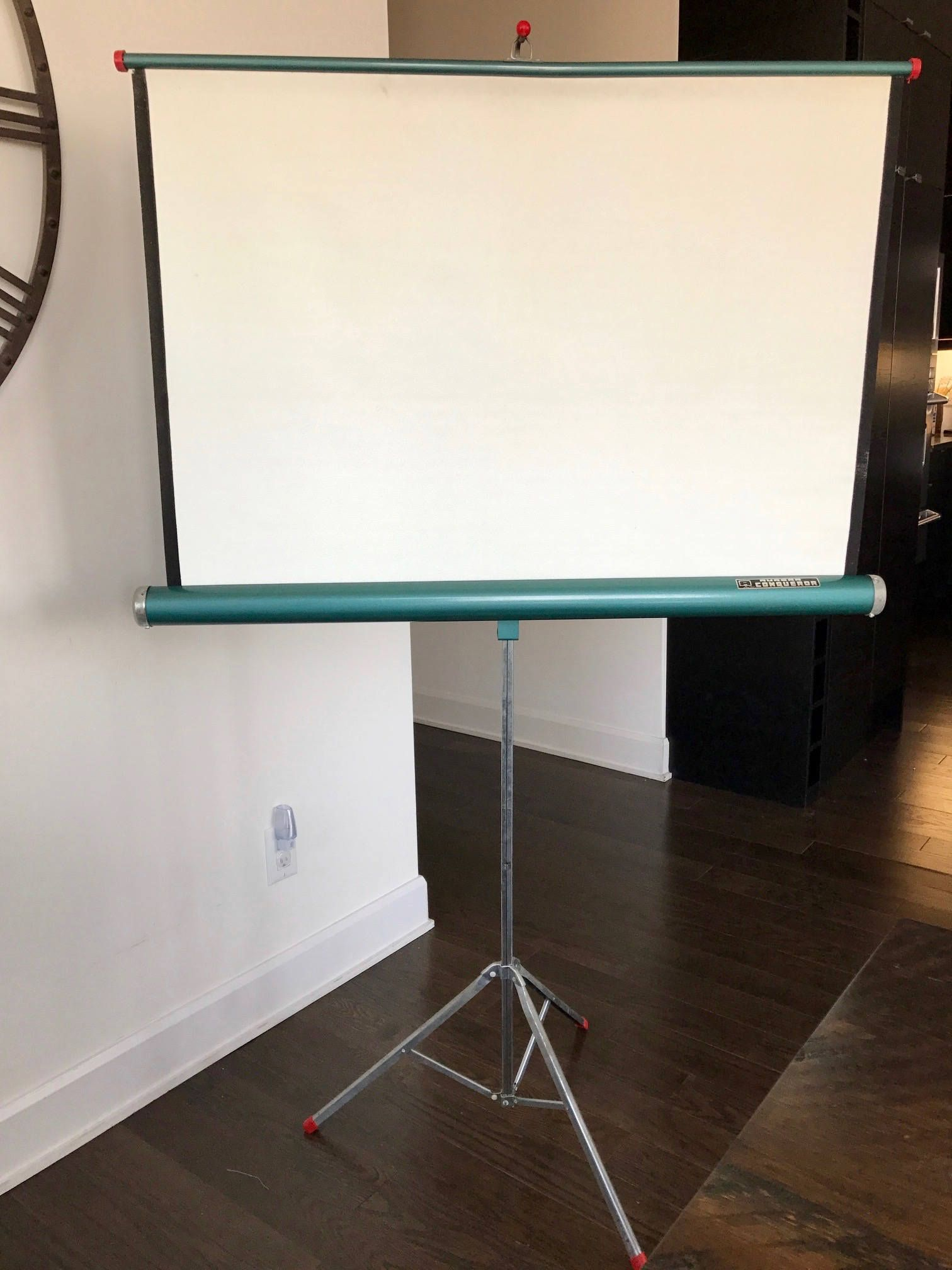 Vintage Movie Projector Screen Aurora Conqueror Projector Screen With Original Wood Case 1960s Portable Projector Screen Movie Projector Screen Screen Stands