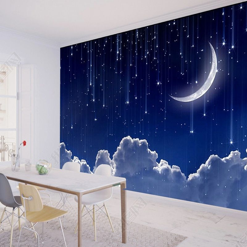 Custom 3d Photo Wallpaper Murals 3d Fantasy Sky Moon Clouds Space