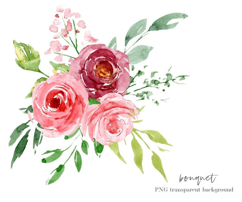Watercolor Pink Flowers And Leaves Clipart Floral Aquarelle Set Png Files With Clear Transparent Background Free Commercial Use Watercolor Flowers Flower Clipart Pink Watercolor Flower