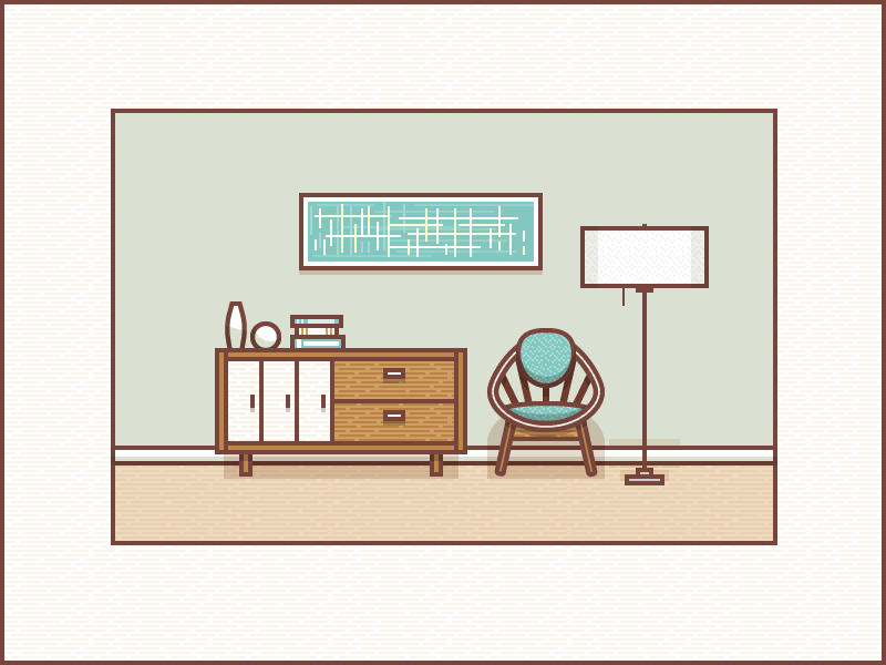 Marvelous Line Illustration   Vector | Living Room Study