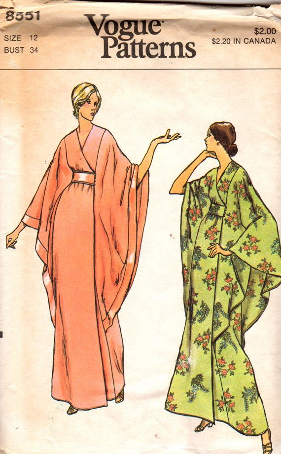 Vogue 8551 1970s Misses Cape Sleeve Robe Pattern Hollywood Glam