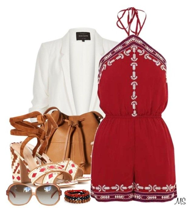 """""""Embroided"""" by michellesherrill ❤ liked on Polyvore featuring River Island, ECCO, Topshop, Gianvito Rossi and Blooming Lotus Jewelry"""