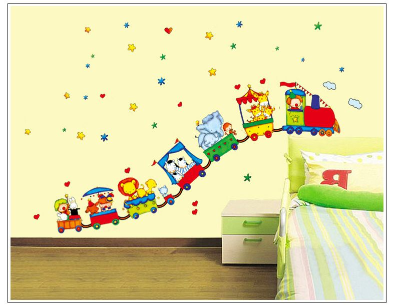 Free Shipping Animal Circus Train Children DIY Removable Wall ...