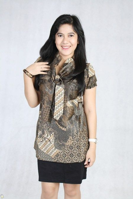 Model Baju Blus Batik Kantor Lengan Pendek  e6e10e39f9