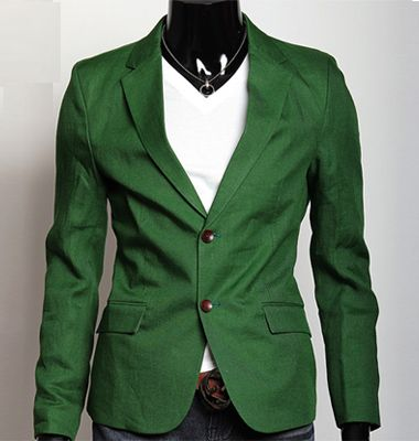 UK series For Mens casual style Linen 2Button Design GREEN jacket ...
