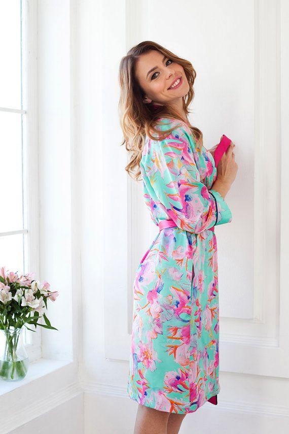 Elegant Satin Dressing Gown UK 14-18/ Pink Floral Satin Robe ...