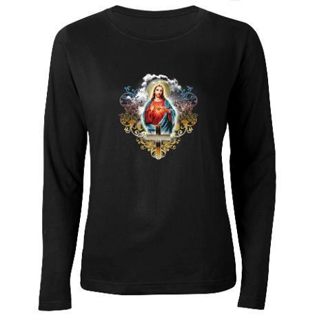 """Sacred Heart of Jesus"" Women's Long Sleeve Dark T-Shirt"