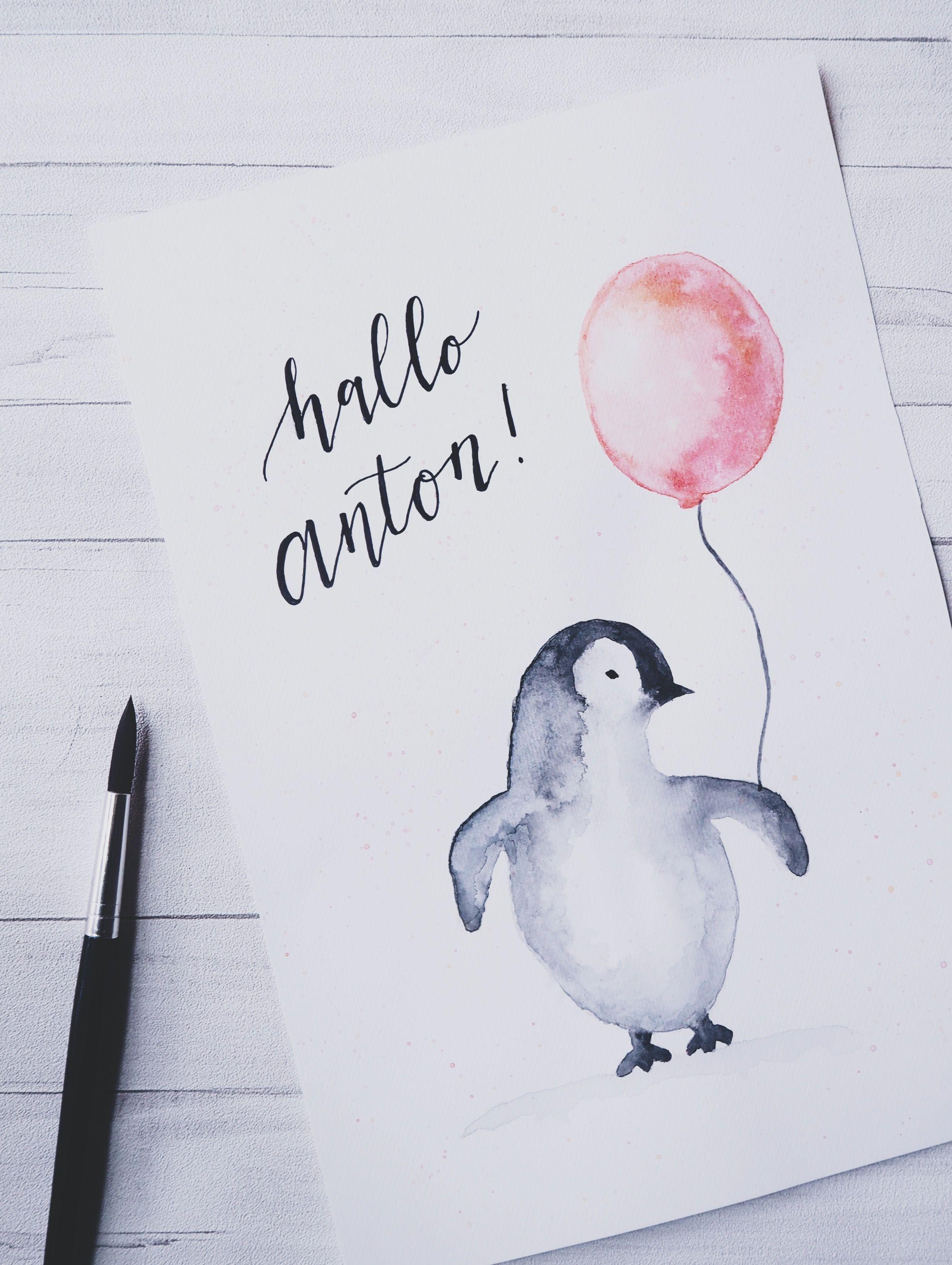 Baby Pinguin #diy #watercolor #watercolorpainting #aquarell #babyboy #handlettering #fauxcalligraphy #maskingtapeart Baby Pinguin #diy #watercolor #watercolorpainting #aquarell #babyboy #handlettering #fauxcalligraphy