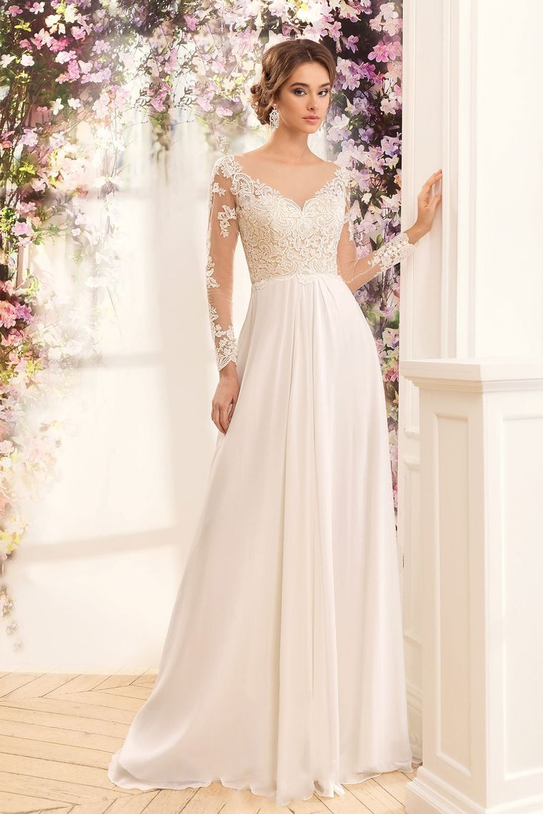 2019 A Line Chiffon Scoop Long Sleeves Wedding Dresses