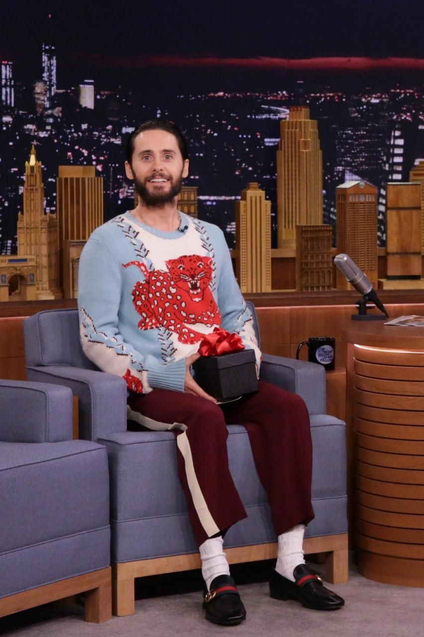 75a5b58885d Jared Leto wearing Gucci Revolt Leather Loafer with Gg Web in Black ...