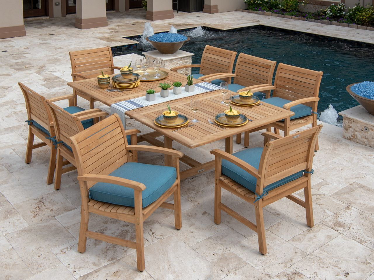 Westchester 9 Pc Solid Teak Dining Set Fortunoff Backyard Store