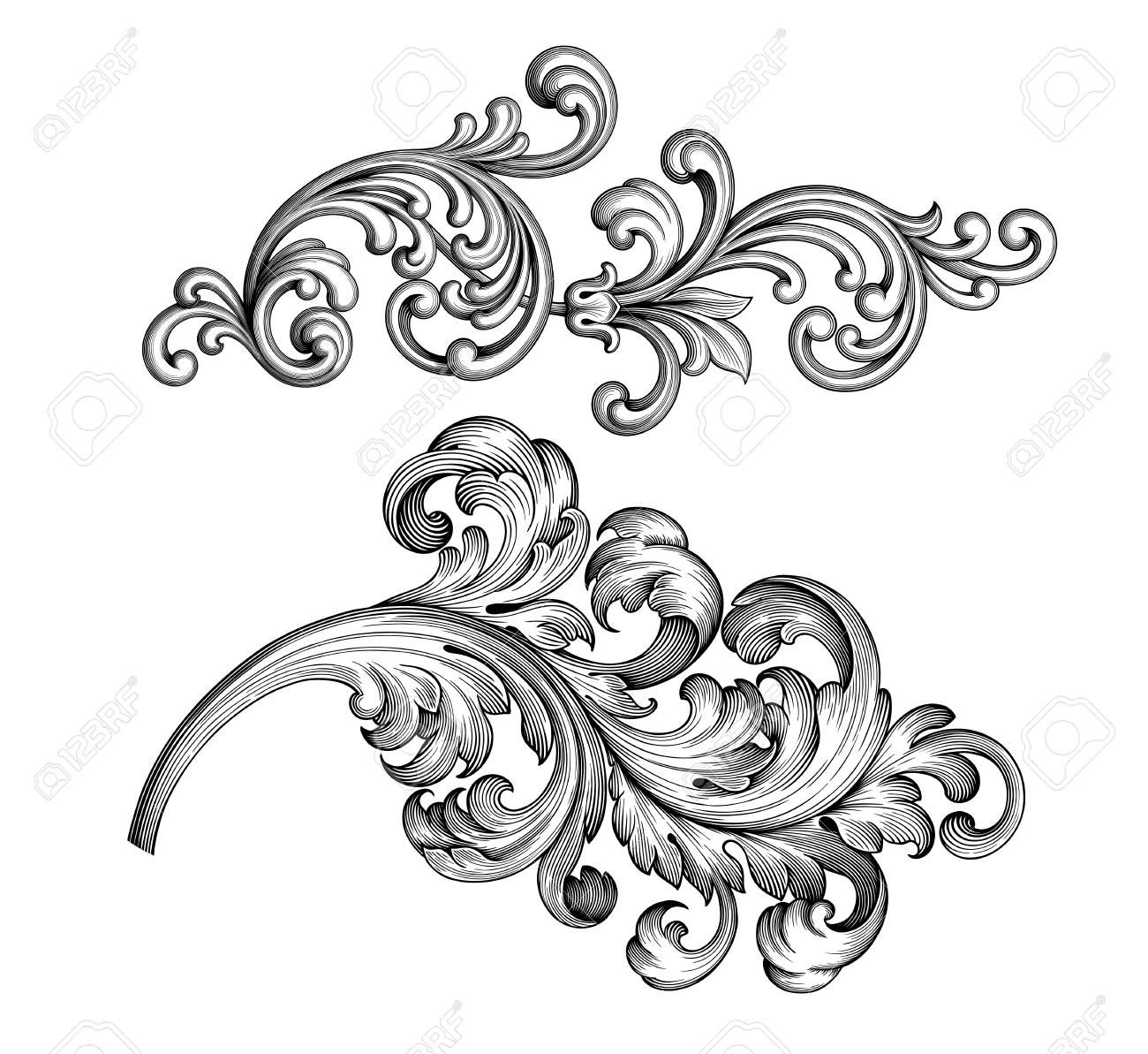 Vintage Baroque Victorian Frame Border Tattoo Floral Ornament Leaf Scroll Engraved Retro Flower Pattern Deco Vintage Frame Tattoo Framed Tattoo Filigree Tattoo