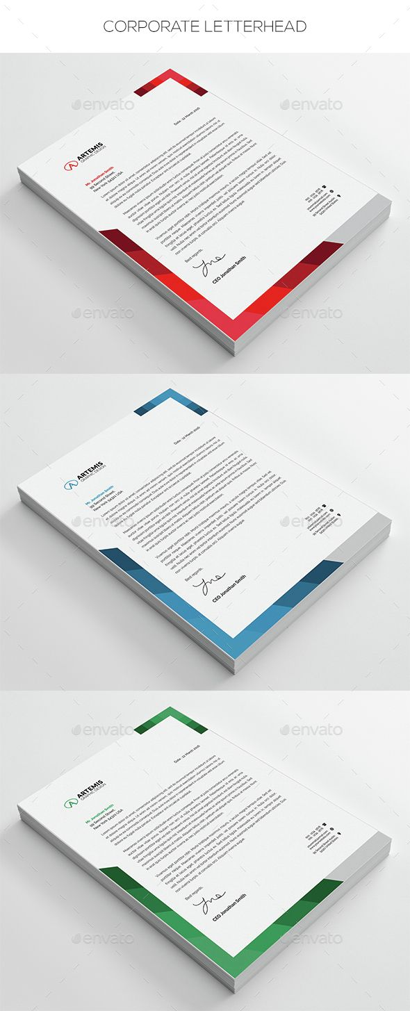 Corporate Letterhead A4 Template PSD