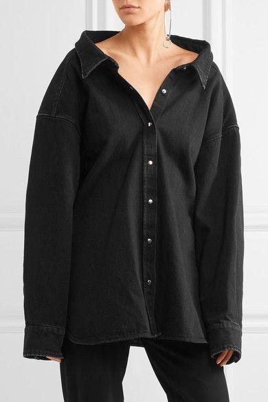 440c7e91d5 Balenciaga - Oversized Denim Shirt - Black   Products   Oversized ...