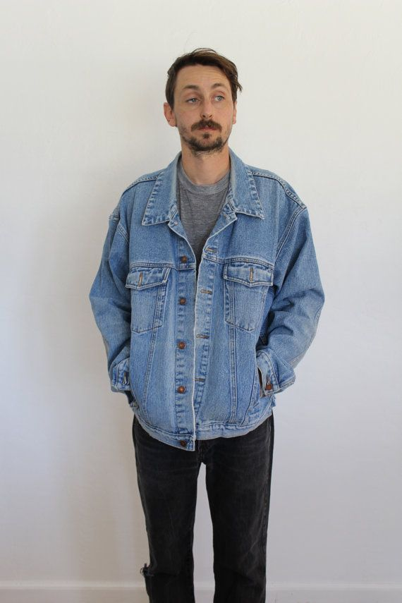 b8857d5eb03f Light Wash Denim Oversized Jacket Mens Large by FiestaForever