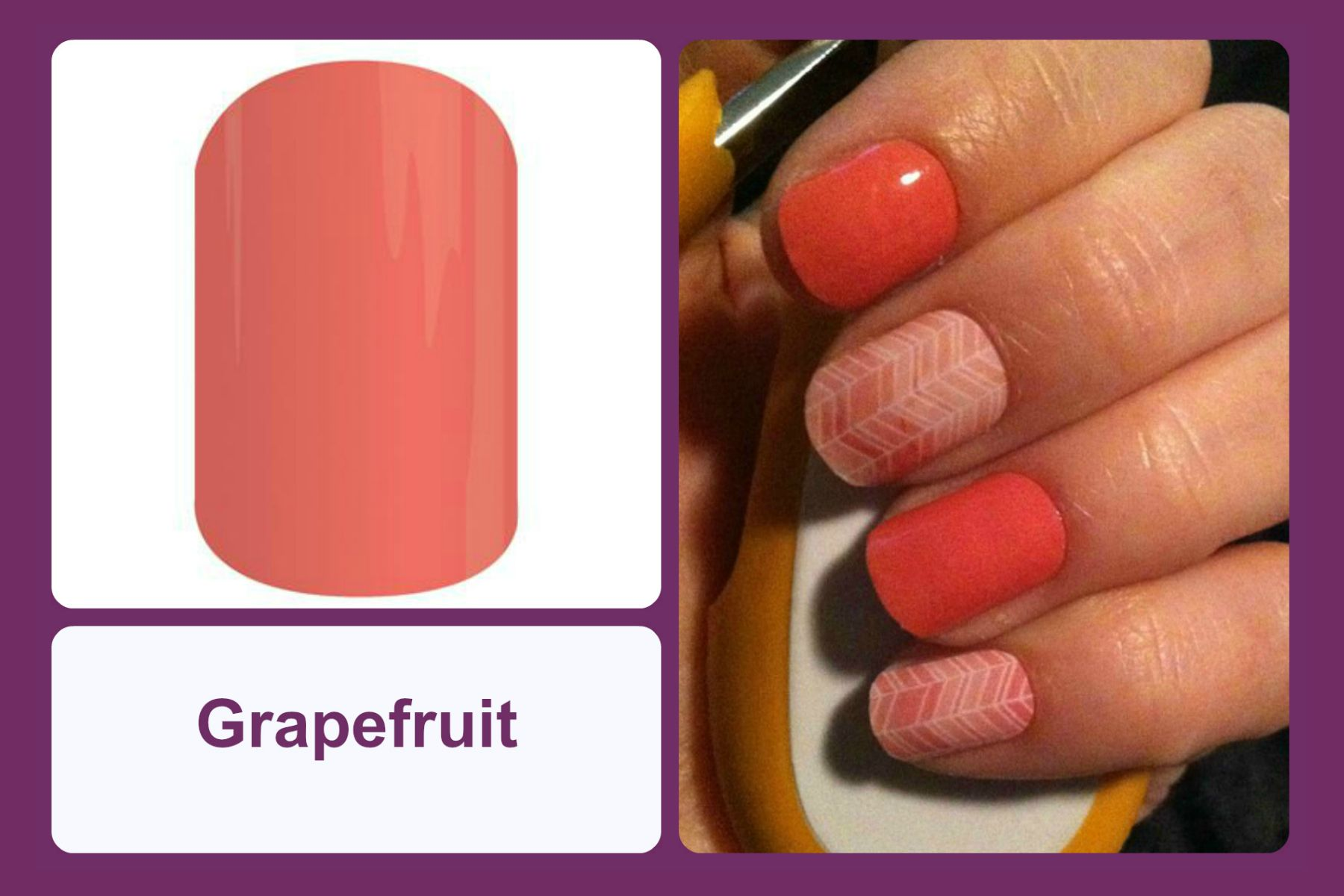 Somewhere between orange and pink lies grapefruit, a gorgeous neutral that pairs well with other colors and designs. #bevsjamminnails https://bkimball.jamberry.com/us/en/shop/products/grapefruit#.VxeldvkrJQI