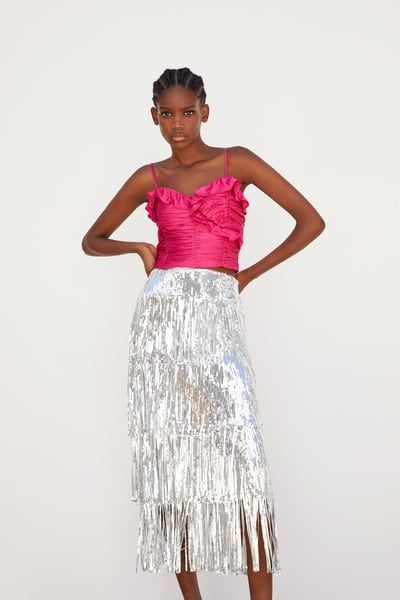 f448e77b0c ZARA - Female - Limited edition fringed sequin skirt - Silver - Xs ...