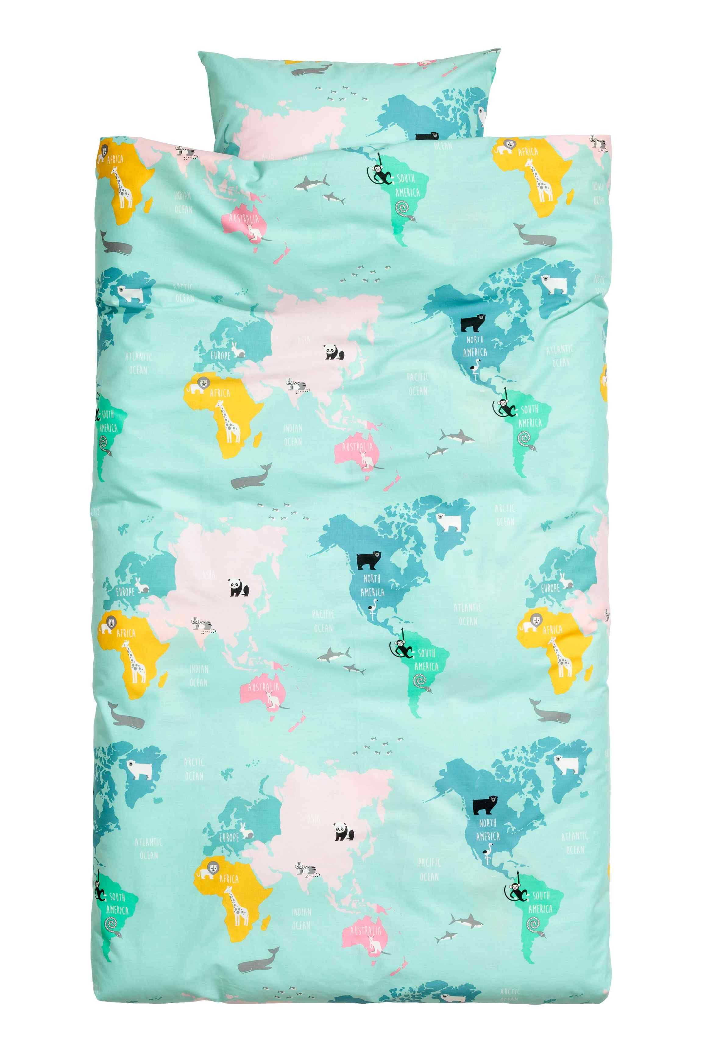 World map duvet cover set single duvet cover duvet and blue bedrooms world map duvet cover set gumiabroncs Image collections