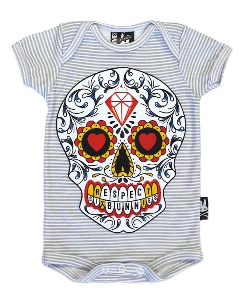 Six Bunnies Skulls /& Bones Tee Shirt Kids Cool Punk Gothic Black Skeleton Gift