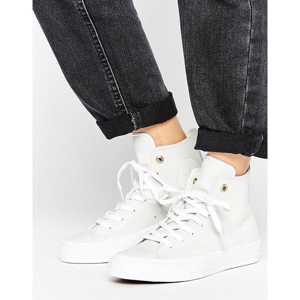 3f4d4867183f Converse Chuck Ii Hi Top Trainers In White Leather (€97) found on Polyvore