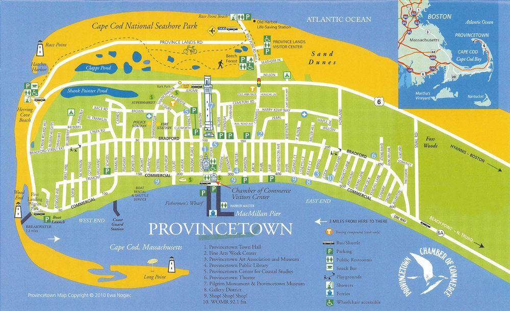 Provincetown, Ma Road Trip ideas!! Provincetown beach, Beach, Map