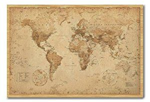 World map poster ye old parchment cork pin memo board beech framed world map poster ye old parchment cork pin memo board beech framed 965 x 66 gumiabroncs Image collections