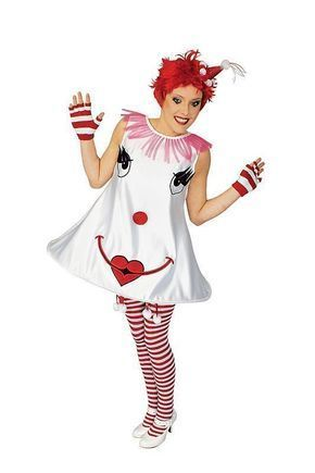 clown kleid smiley kost m damen karneval zirkus party in. Black Bedroom Furniture Sets. Home Design Ideas