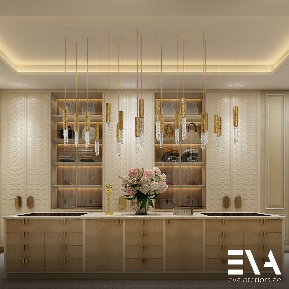 With Subtly Patterned Wardrobes Soft Lighting And The Stunning Shine Vertical Chandelier It May Be Difficult To Drag Yoursel Soft Lighting Dressing Room Room
