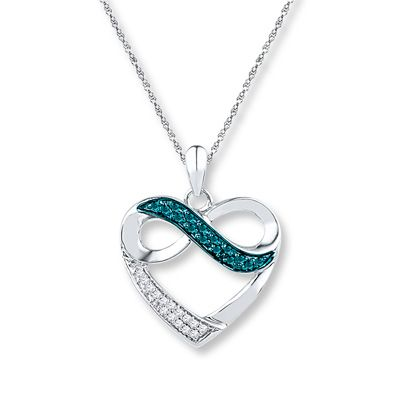 Artistry Diamonds Heart Infinity Necklace 1/10 ct tw Diamonds Sterling Silver CLnht8c