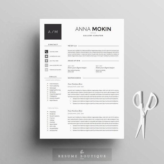 5 Page Resume / CV Template + Cover Letter + References