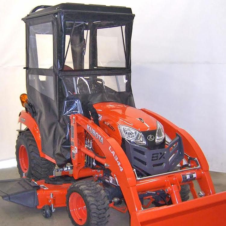 Hardtop Tractor Cab with Hinged Doors for the Kubota BX1880