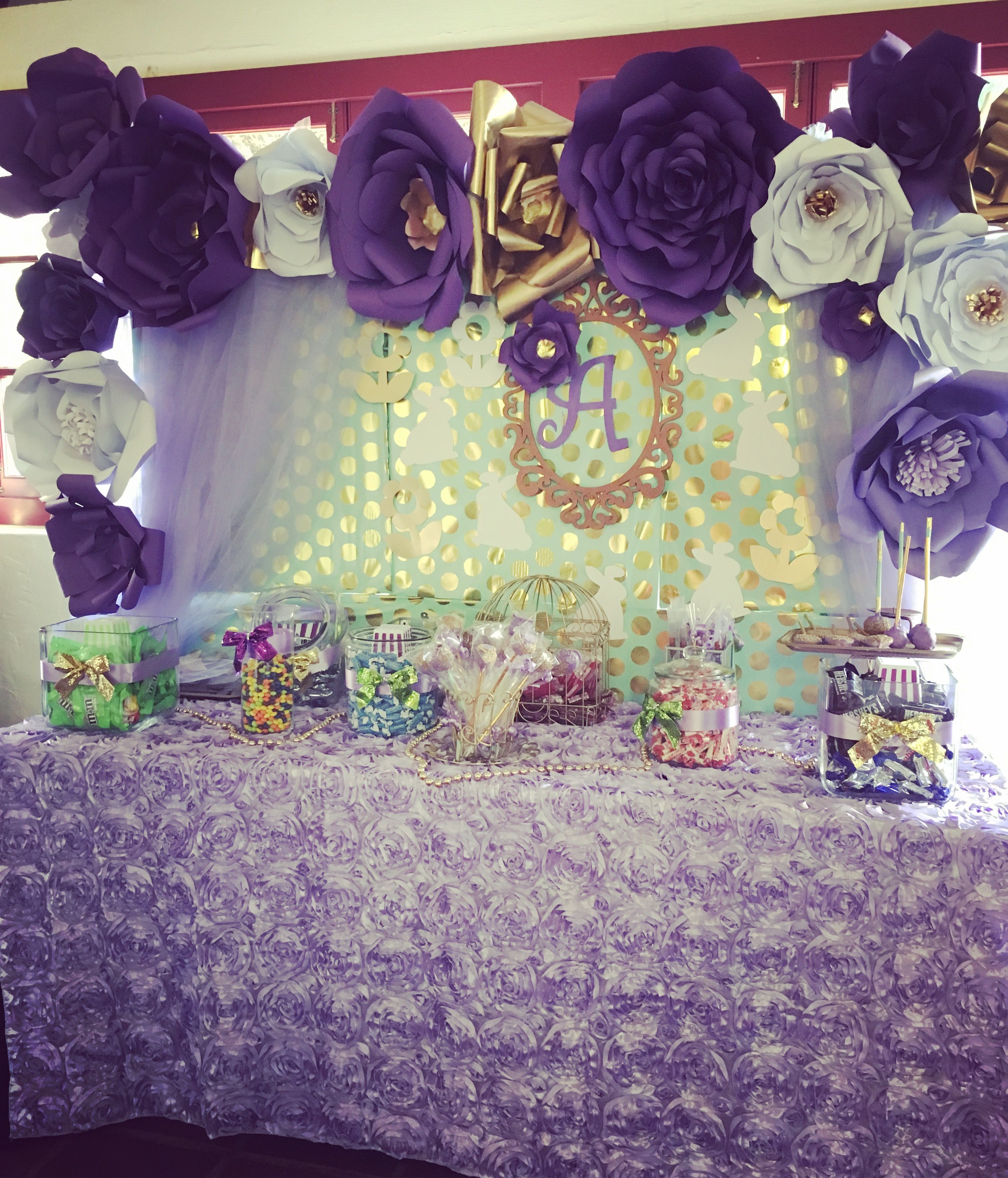 Purple and gold and mint colors paper flowers backdrop for 16 birthday decoration