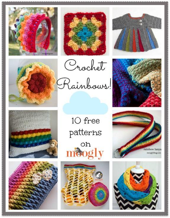 Crochet a Rainbow with 10 Free Moogly Patterns | Ganchillo, Tejido y ...