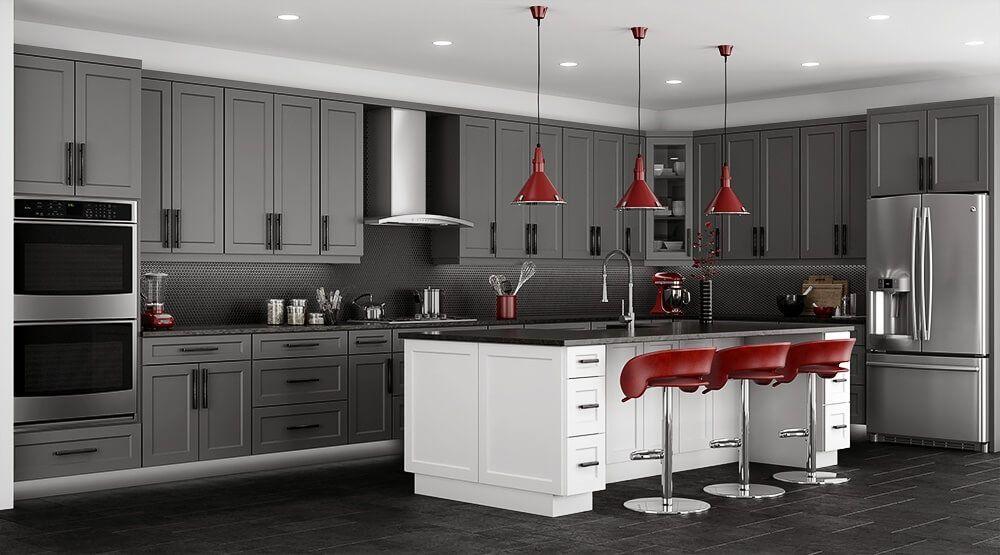 Stone Grey Shaker Kitchen Cabinets Rta Kitchen Cabinets Kitchen Cabinet Styles Shaker Style Kitchen Cabinets Grey Shaker Kitchen