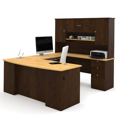 Bestar Manhattan U-Shape Executive Desk with Hutch Office