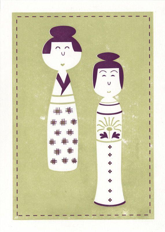 Kokeshi Doll inspired note card Umi and Yuki by letterpresshabitat, $5.00