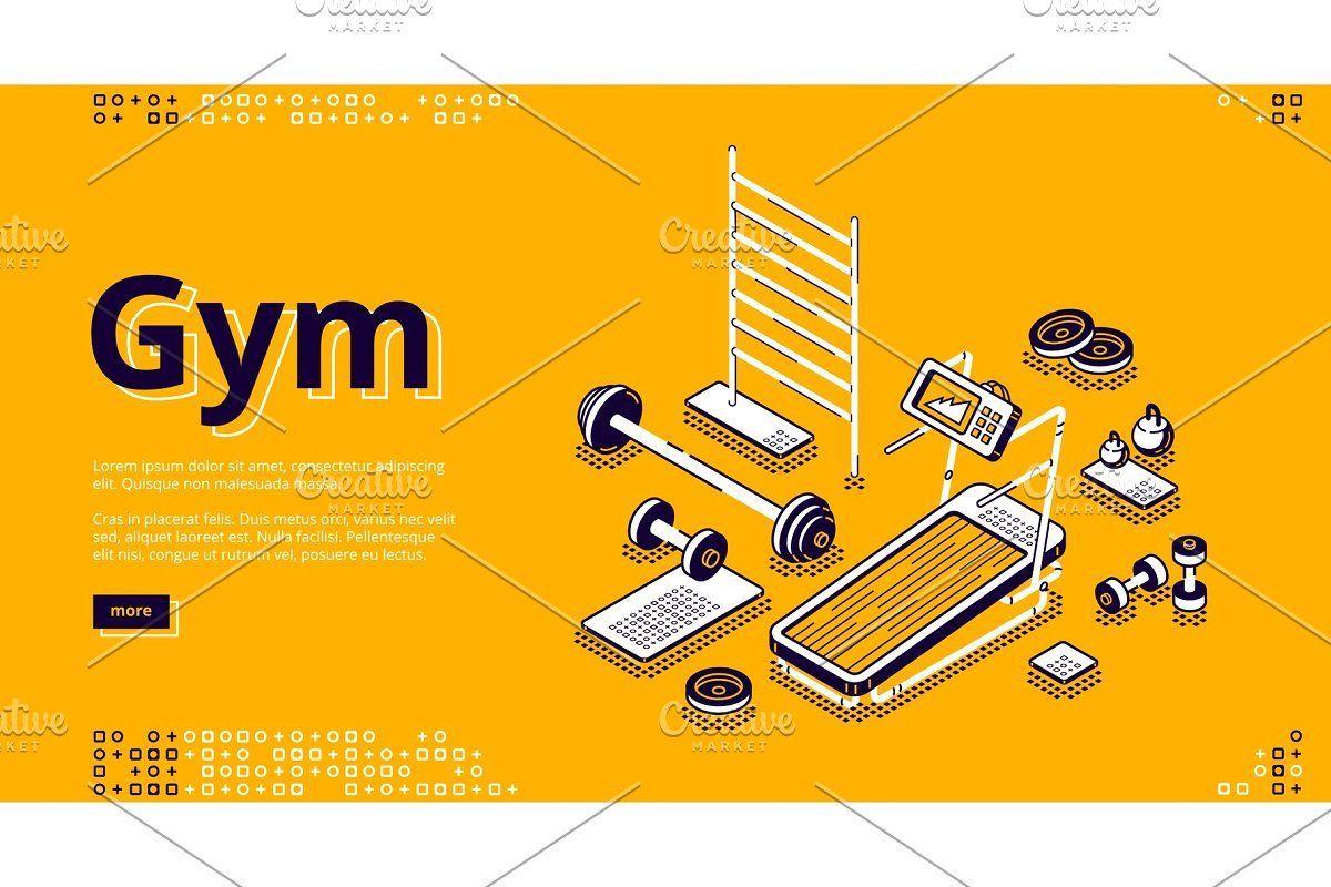 Isometrische Landingpage im Fitnessstudio, Fitness -  #Fitnessstudio, #Isometrisch, #Landung, #Fitne...