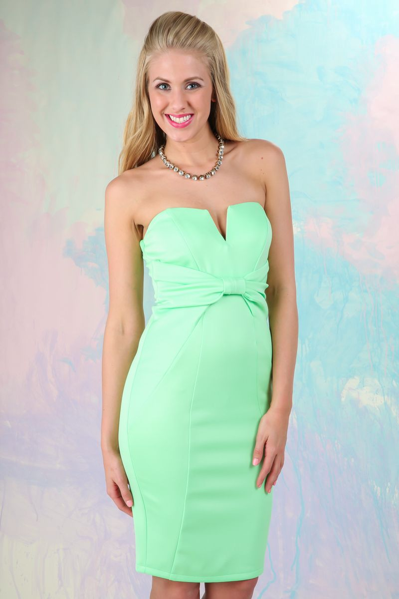 Spring perfection this honeydew strapless dress belongs in your