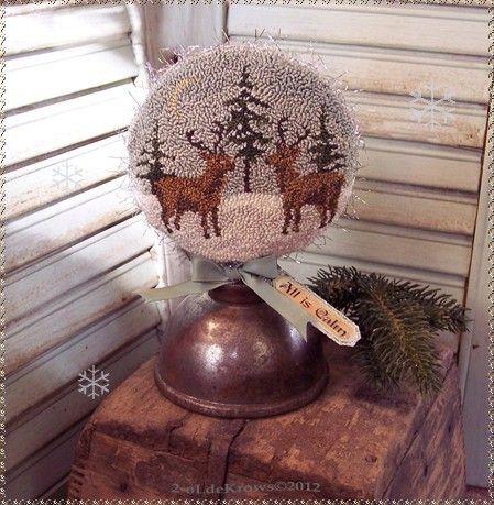 All is CaLm- PrimiTive OriginaL ChrisTmas Punch NeedLe Reindeer Snow Globe OOAK | eBay