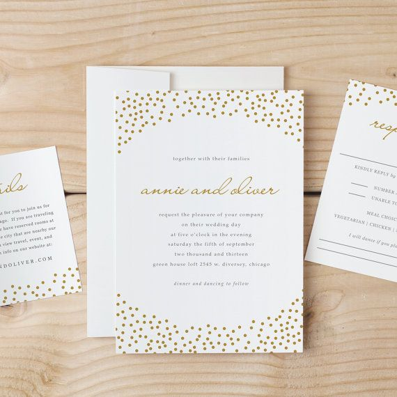 Wedding Invitation Template Download - Gold Dots - Word or Pages - pages invitation templates free