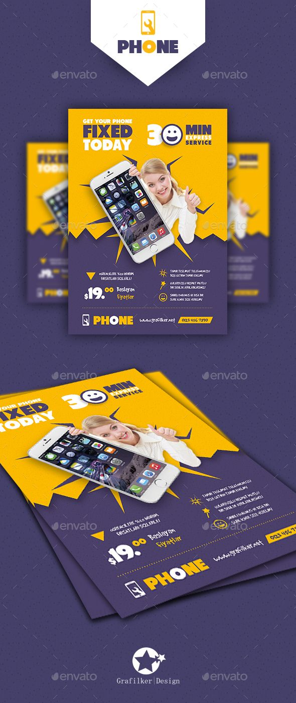 Phone Repair Flyer Templates  Flyer Template Template And Brochures