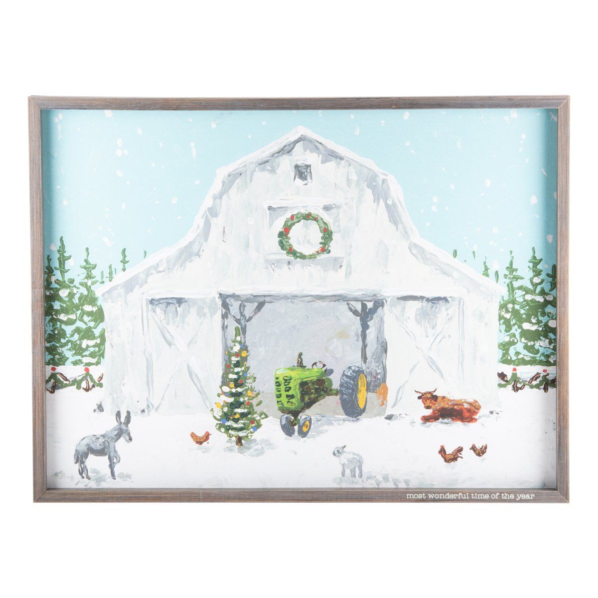 Let it snow, let it snow, let it snow! Cozy up to the fireplace with this feel-good piece on the mantel to bring a winter atmosphere to your home. This framed canvas would look great in a farmhouse or any Southern home! Original Design 24