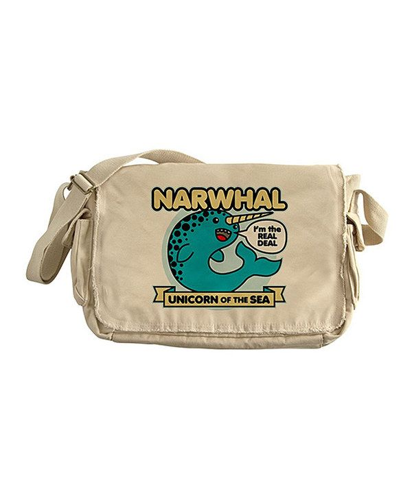 Take a look at this Tan Narwhal Messenger Bag on zulily today!